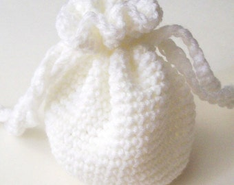 White Crochet Drawstring Bag, White Crochet Pouch, Small Drawstring Bag, Crochet Drawsting Pouch, Crochet Bag, Handmade Bag