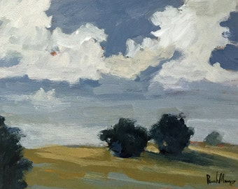 landscape painting, rural landscape,small landscape, gallery wall, art, original painting, clouds