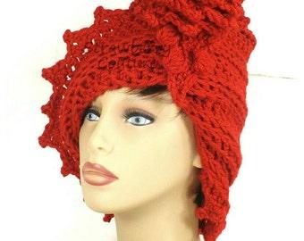 Red Cloche Hat,  Crochet Hat Red Womens Hat 1920s,  Red Hat,  Lauren 1920s Cloche Hat Crochet Flower,  Russian Hat