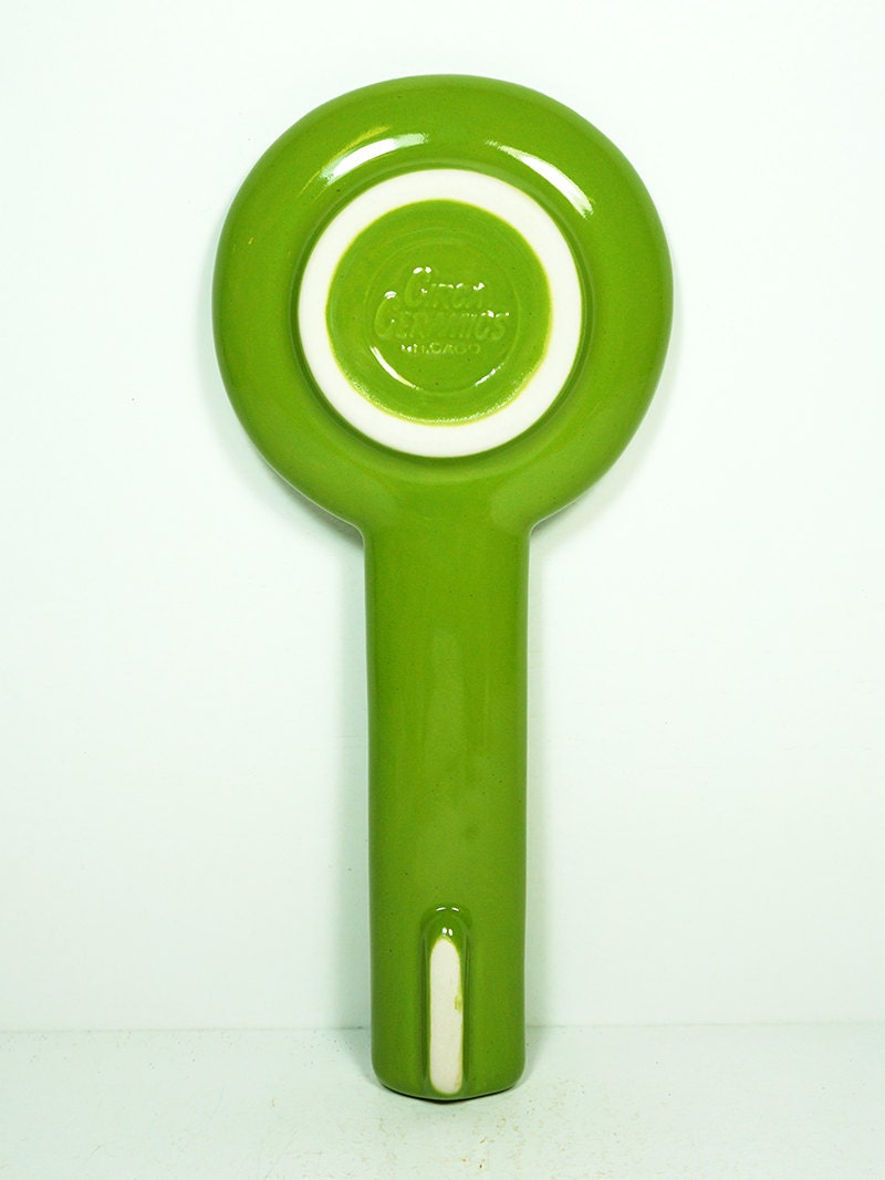 spoon rest with a 45 insert print, shown in Avocado  - Made to Order / Pick Your Colour
