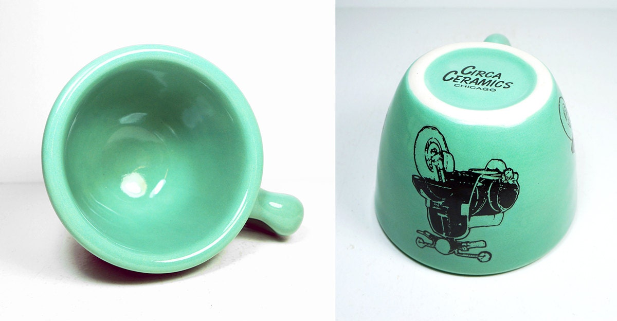 12oz cup with a Vespa scooter print, on Blue Green glaze - Made to Order / Pick Your Colour