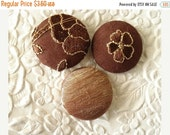 CLEARANCE Brown - 3 fabric covered buttons - 1 1/8 inches