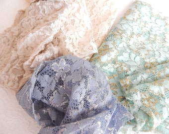 Lace fabric pieces, sparkly fabric, stretch lace , crazyquilting, patchwork,applique, sewing