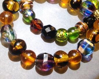 Brown Glass Bracelet - Child Bracelet - Stretch Bracelet - Brown Bracelet - Statement Bracelet - Wrap Bracelet - Boho Chic - Hippie Jewelry