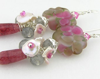 Fuchsia flower lampwork earrings muscovite sterling silver keishi pearl pink tourmaline cserpentDesigns