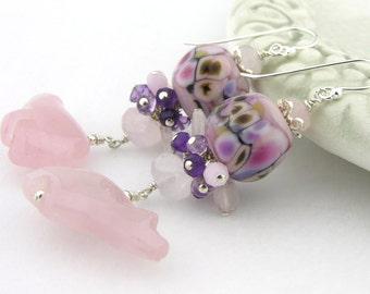 Pink rose quartz bear purple sterling earrings cserpentDesigns amethyst lampwork zuni