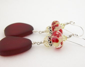 Red yellow lampwork citrine sterling earrings cserpentDesigns frosted red sea glass