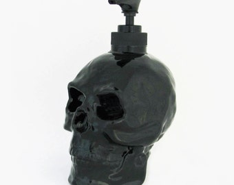 Skull Soap Dispenser Halloween Horror Pirate Haunted House Friday 13th Decor Bath Vanity Kitchen Decoration in Black Gloss or Matte Finish