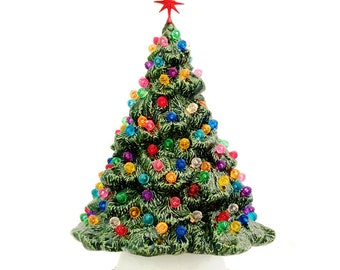 Ceramic Christmas Tree Shenandoah Pine Tabletop Tree 10 Inches Tall with Lots of Round Jewel Color Globe Lights Topped with a Snowflake Star