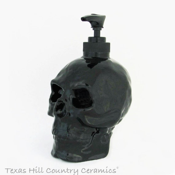 Skull Soap Dispenser in Black Gloss or Matte Finish Halloween Horror Pirate Friday the 13th Decor Ceramic Bath Vanity Kitchen Decoration