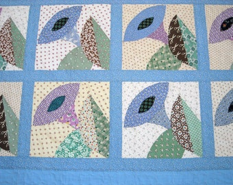 Patchwork Twin Size Quilt  - Morning Glory Quilt - Vintage Look - Feedsack Prints - Handmade