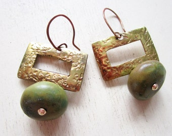 Olive Turquoise Vintage Brass Earrings - Gemstone - Rectangle - Statement - Etsy Jewelry - catROCKS - Glamour - Repurposed - Recycled -Stone
