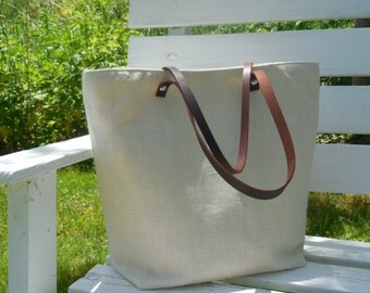Linen Tote Leather Handles Beach Bag