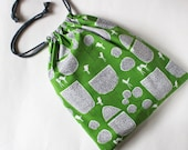 Drawstring bag trees and birds on green - shoe bag, laundry bag, travel, organization, grass green, modern, gray
