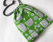 Drawstring bag trees and birds on green - shoe bag, laundry bag, travel, organization, grass green, modern, gray