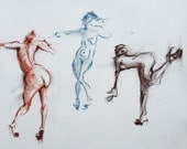Original Figure Sketch - 18x24 Female Nude Conte and Pastel Drawing by David Lloyd