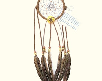 Medium Brown Dream Catcher, Golden Pheasant Feathers