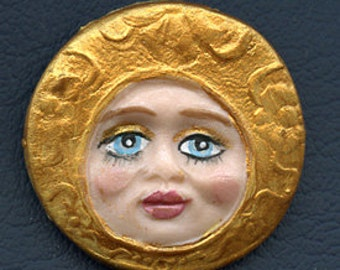 """Polymer Clay Detailed  Blue Eyed Golden  Face Cab 1 1/2""""  X 1 1/2"""" BLM 1"""
