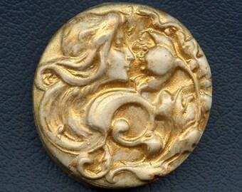 Polymer  Clay  Golden Art Nouveau Goddess Cab  ANC 7