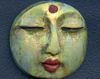 Polymer OOAK Buddha Face  Cab Round, Abstract  BLAD 6