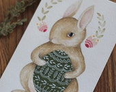 "Original Easter Bunny Egg painting, ""Easter Rabbit, Green"""