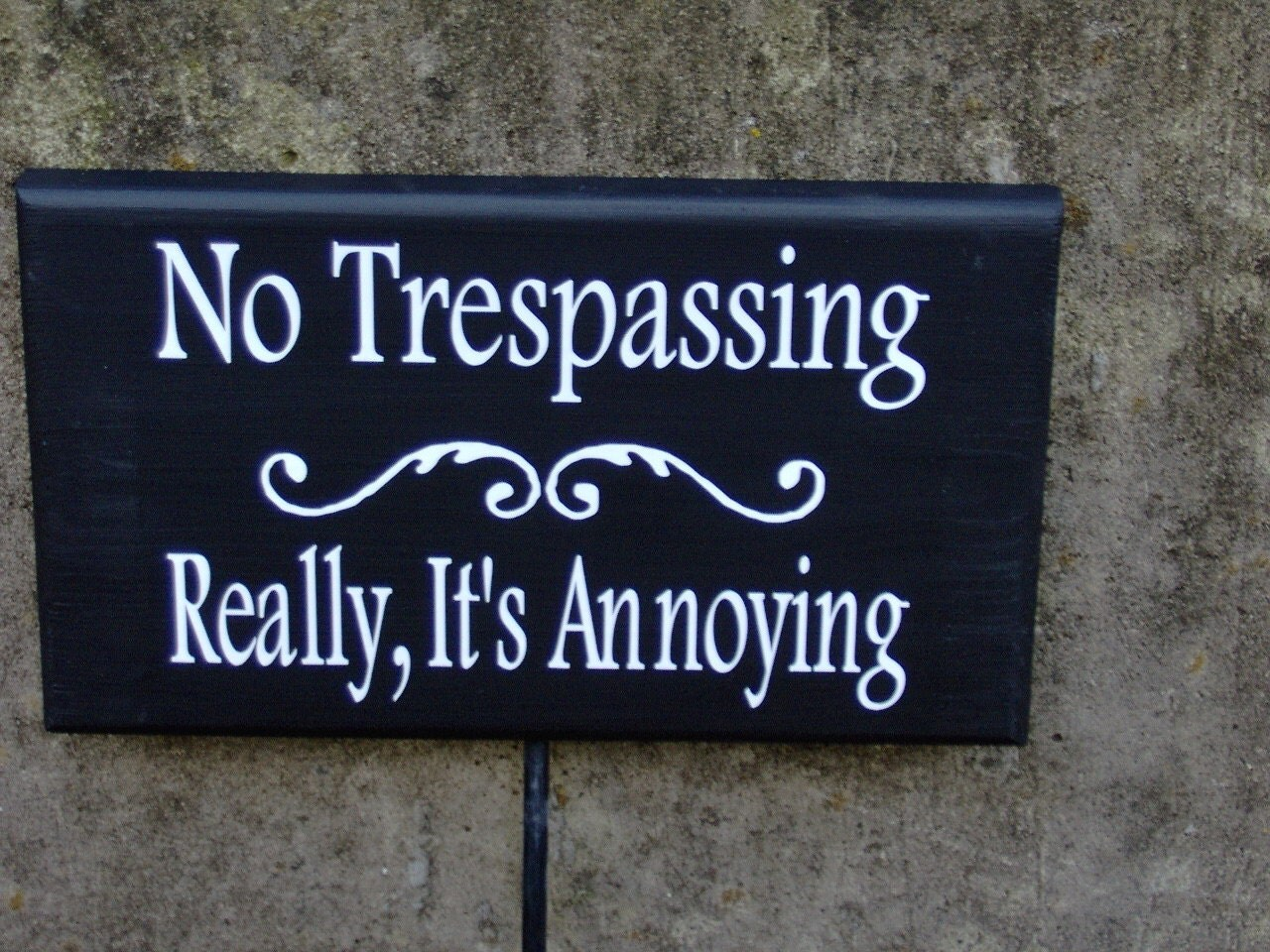 no trespassing really its annoying wood vinyl yard sign stake. Black Bedroom Furniture Sets. Home Design Ideas