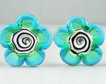 Transparent Emerald and Aqua Flat Flower Lampwork Glass Beads (4)