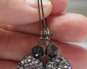 Crystal Ball Earrings in Gunmetal. Grey Disco Ball Earrings. Gunmetal Crystal Earrings.