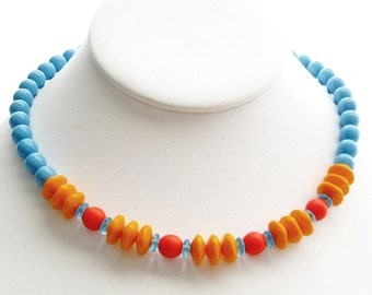 Caribbean Salsa Necklace, 18 Inch, Czech Glass. Orange Tangerine, Marine Blue, Tropical Jewelry, Beach Jewelry, Summer Jewelry, Cruise Wear