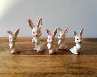 Psycho Rabbit Bunny Family Set of 5 Ceramic with Crazy Eyes!!