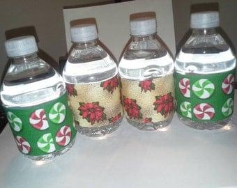 Digital Download Holiday Water Bottle Favor Labels