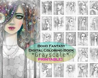 Bohemian Fantasy GRAYSCALE Coloring Book - PRINTABLE - Instant Download - Gypsy - Grayscale Coloring - Molly Harrison Fantasy Art