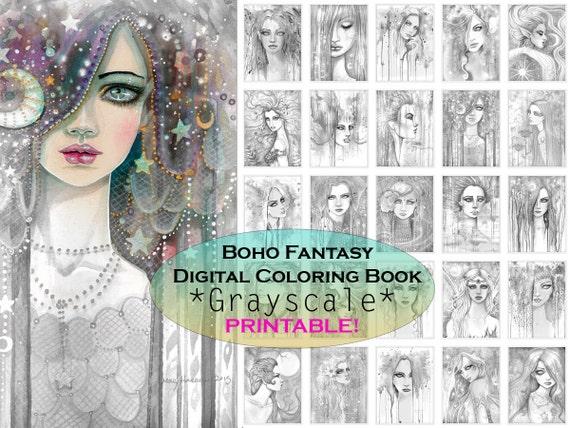Bohemian Fantasy GRAYSCALE Coloring
