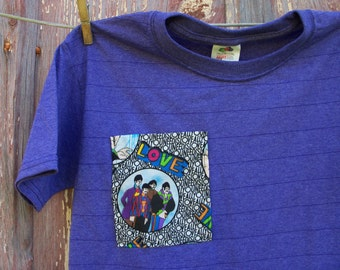 Child Size Small Purple Stripe T-Shirt with All You Need Is Love Pocket