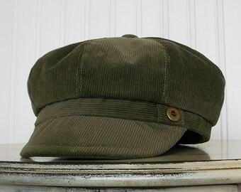 Womens Newsboy Hat - Olive Green Hat - Corduroy Hat -Womens Hats - Newsboy Hat - Womens Cap: MADE TO ORDER
