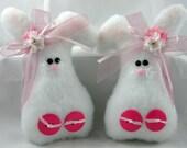 EASTER BUNNY Set of 2, Handmade Bunny Ornaments, Easter Decoration, Stuffed Bunny, Bunny Decoration, Plush Bunny, Pink