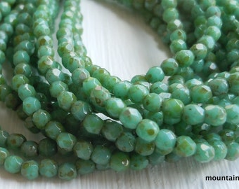 2mm Czech Beads - Czech Glass Beads Fire Polished Faceted Glass Round - Opaque Turquoise Picasso - 50 Beads