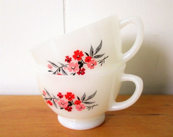 vintage Fire King primrose tea cups