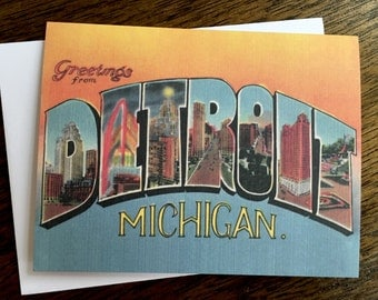 Greetings From Detroit Card - #4  - Blank Inside