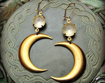 Goddess of the Moon Earrings crescent moon boho gypsy goddess jewelry