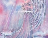 Manakel angel in the morning sun  fantasy art  print by Renee  Lavoie
