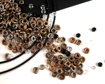 270 Tiny African Metal Heishi Bead Mix, 3mm, Brass Heishi, Silver Heishi, Hand Crafted African Beads, African Spacer Beads, DESTASH K067