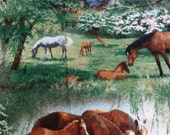 HORSES Cotton Fat Quarter FQ Horses Out of Print by Persis Clayton Weirs