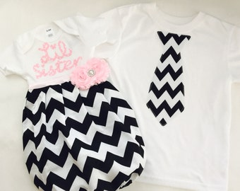 Boutique SIBLING SET..Brother sister set.. baby gown and tie one piece or t-shirt.. Black and white chevron