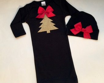 Sparkle glitter gold CHRISTMAS Tree Baby GOWN... New baby--- with red bow