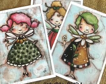 New!  STUDIO DUDA ART mini print set Flower Fairies on velvety bright paper -  5x7 prints