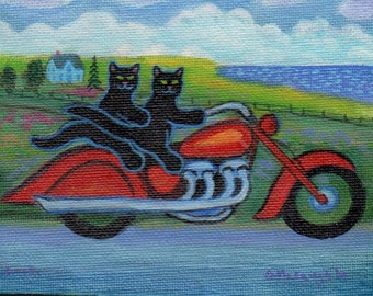 ORIGINAL PAINTING, Two Black Cats on an Indian motorcycle by the Bay, by DM Laughlin
