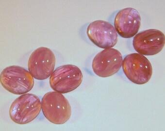 24 pcs. Vintage glass pink marbled oval flat back cabochons 10x8mm - f1604