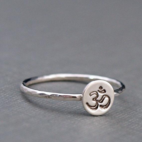 Ohm Ring , Om Jewelry , Yoga Jewelry , Sterling Silver Stacking Ring
