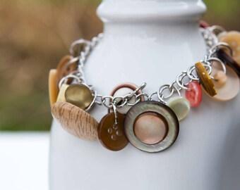 Button Charm Bracelet - Vintage Button Bracelet - Shabby Chic Bracelet - Upcycled Button Jewelry - Brown Charm Bracelet - Unique Bracelet